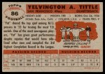 1956 Topps #86  Y.A. Tittle  Back Thumbnail