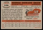 1956 Topps #108  George Shaw  Back Thumbnail