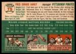 1954 Topps #75  Fred Haney  Back Thumbnail