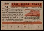 1956 Topps #42  Tom Fears  Back Thumbnail