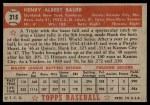 1952 Topps #215  Hank Bauer  Back Thumbnail