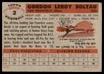 1956 Topps #2  Gordon Soltau  Back Thumbnail