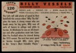 1956 Topps #120  Billy Vessels  Back Thumbnail