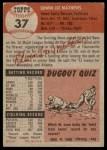 1953 Topps #37  Eddie Mathews  Back Thumbnail