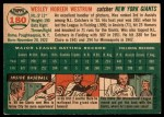 1954 Topps #180  Wes Westrum  Back Thumbnail