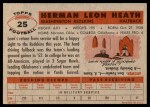 1956 Topps #25  Leon Heath  Back Thumbnail