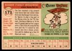 1955 Topps #171  Dick Brodowski  Back Thumbnail