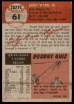 1953 Topps #61  Early Wynn  Back Thumbnail