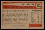 1954 Bowman #190  Joe Presko  Back Thumbnail