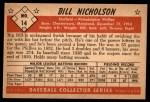 1953 Bowman B&W #14  Bill Nicholson  Back Thumbnail