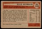 1954 Bowman #113  Allie Reynolds  Back Thumbnail