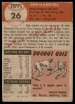 1953 Topps #26  Dale Mitchell  Back Thumbnail
