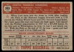 1952 Topps #203  Curt Simmons  Back Thumbnail