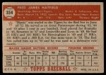 1952 Topps #354  Fred Hatfield  Back Thumbnail