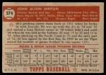 1952 Topps #374  Al Benton  Back Thumbnail