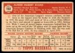 1952 Topps #152 CRM Al Evans  Back Thumbnail