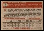 1952 Topps #31  Gus Zernial  Back Thumbnail