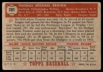 1952 Topps #281  Tommy Brown  Back Thumbnail