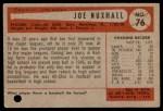 1954 Bowman #76  Joe Nuxhall  Back Thumbnail