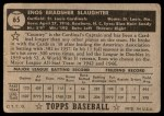 1952 Topps #65  Enos Slaughter  Back Thumbnail