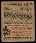1948 Bowman #32  Red Holzman  Back Thumbnail
