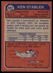 1973 Topps #487  Ken Stabler  Back Thumbnail