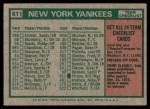 1975 Topps Mini #611   -  Bill Virdon Yankees Team Checklist Back Thumbnail