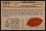 1953 Bowman #57  John Rapacz  Back Thumbnail