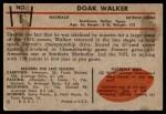 1953 Bowman #6  Doak Walker  Back Thumbnail