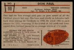 1953 Bowman #90  Don Paul  Back Thumbnail