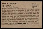 1952 Bowman Large #14  Paul Brown  Back Thumbnail