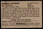 1952 Bowman Large #42  Norm Standlee  Back Thumbnail