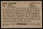 1952 Bowman Large #115  Keith Flowers  Back Thumbnail