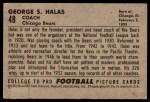 1952 Bowman Large #48  George Halas  Back Thumbnail