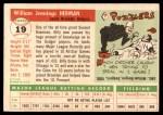 1955 Topps #19  Billy Herman  Back Thumbnail