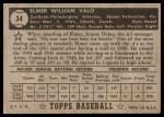 1952 Topps #34  Elmer Valo  Back Thumbnail