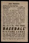 1952 Bowman #62  Joe Presko  Back Thumbnail