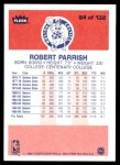 1986 Fleer #84  Robert Parish  Back Thumbnail