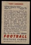 1951 Bowman #90  Tony Canadeo  Back Thumbnail
