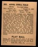1940 Play Ball #203  Odell Hale  Back Thumbnail