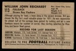 1952 Bowman Small #113  Bill Reichardt  Back Thumbnail