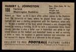 1952 Bowman Small #108  Hubert Johnston  Back Thumbnail
