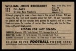 1952 Bowman Small #113  Bill Reichardt  Back Thumbnail