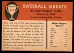 1961 Fleer #142  Bill Terry  Back Thumbnail
