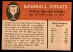 1961 Fleer #129  Kid Nichols  Back Thumbnail