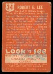 1952 Topps Look 'N See #34  Robert E Lee  Back Thumbnail