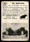 1951 Topps Magic #27  Gil Bartosh  Back Thumbnail