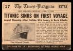1954 Topps Scoop #17   SS Titanic Sinks  Back Thumbnail