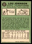 1967 Topps #410  Lou Johnson  Back Thumbnail