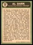 1967 Topps #389  Al Dark  Back Thumbnail